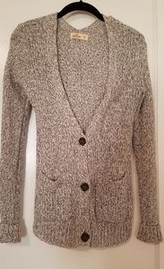 Grey and White Knit Hollister Cardigan